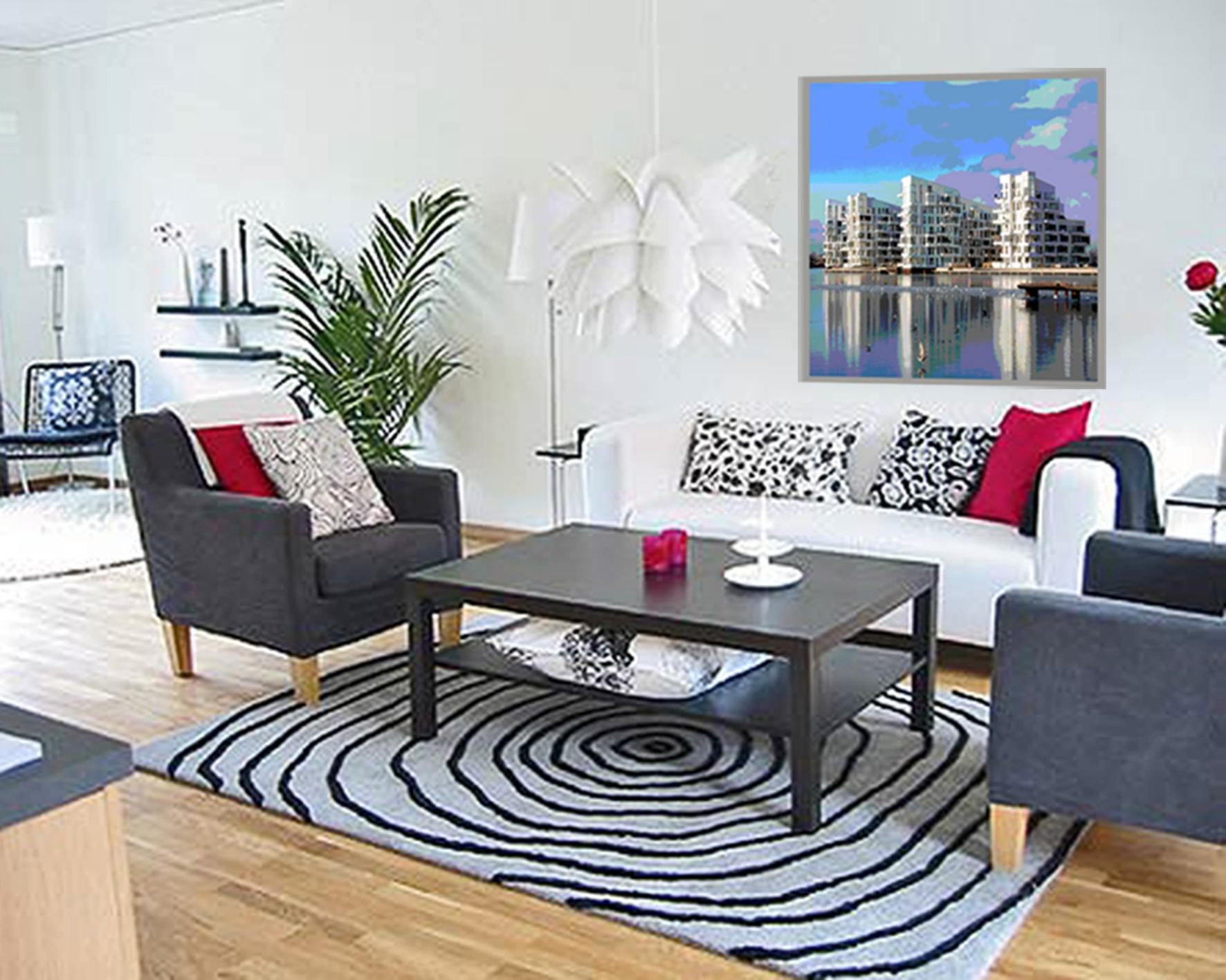 9 Stue med billed af Københavns ny bygniner ved havnefronten