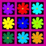 105120 Blomst multi sort pink