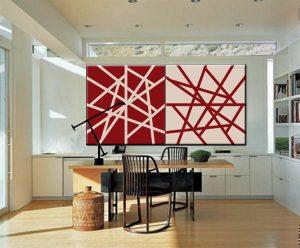 To røde abstrakte lyddæmpende billeder