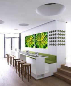 To akustikbilleder med grønne blomster som motiver, hængt op i en café.