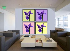 Fire billeder med blomstermotiv