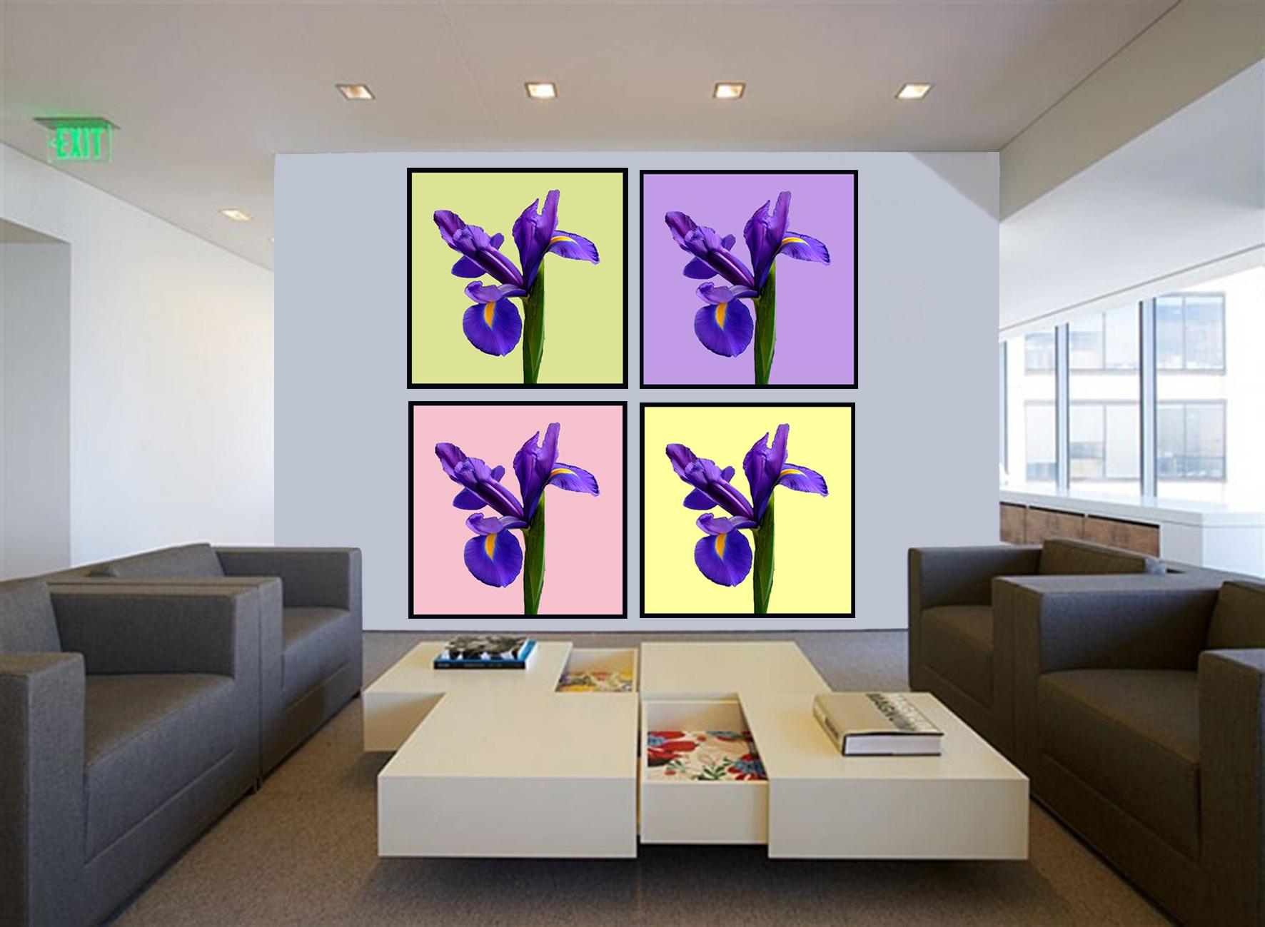 8 Stue med 4 Blomsterbilleder  AKUPRINT