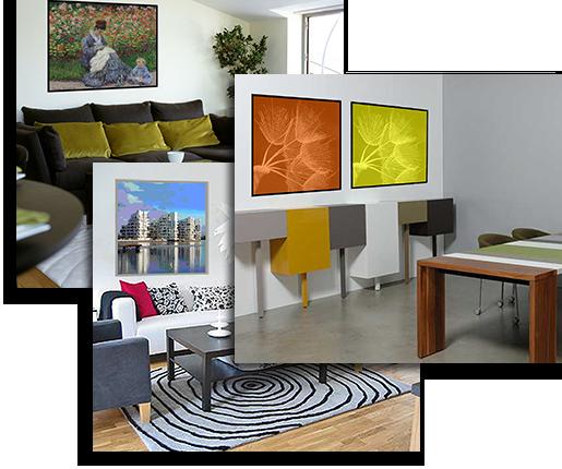 Collage med et udpluk af mulige motiver på akustikbilleder